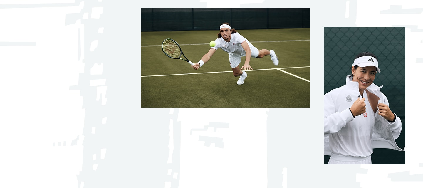 Combined images of male tennis players in action wearing the uniforia collection