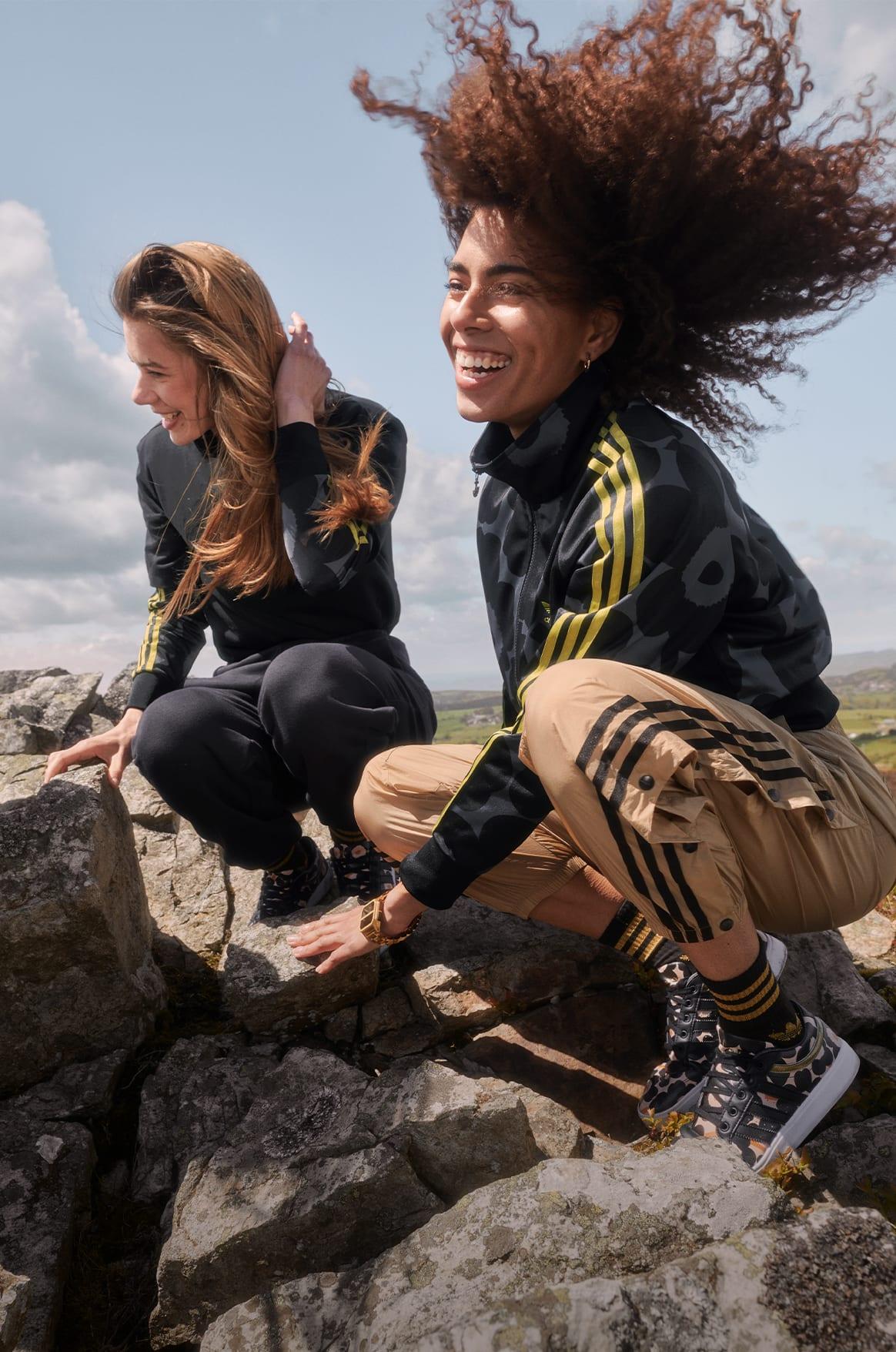 Female wearing adidas marimekko jacket