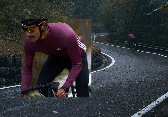 Image of male cyclist in the new COLD.RDY adidas Cycling collection