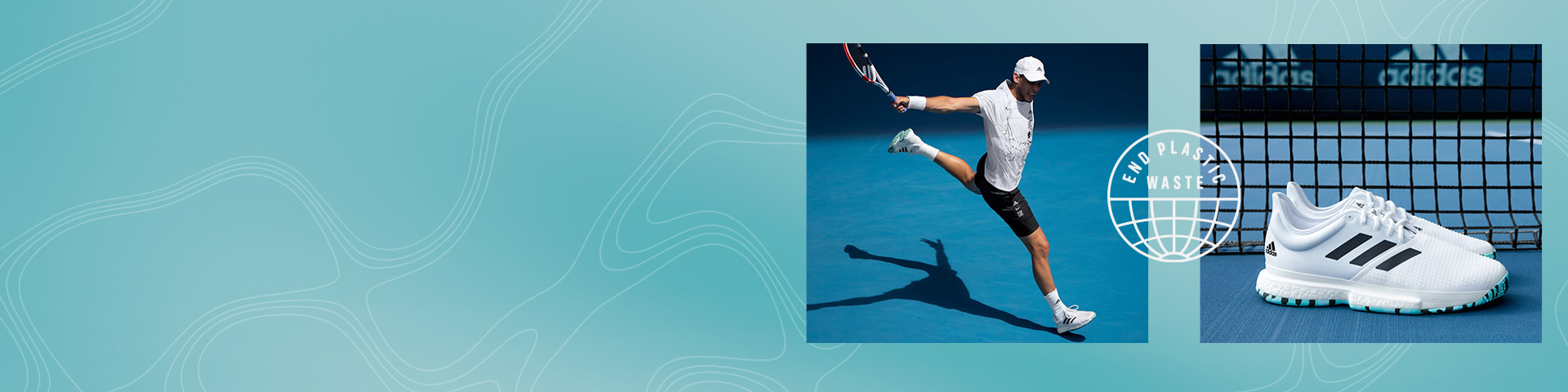 Dominic Thiem hits a backhand in the new adidas Parley tennis range including the Parley Solecourt shoes