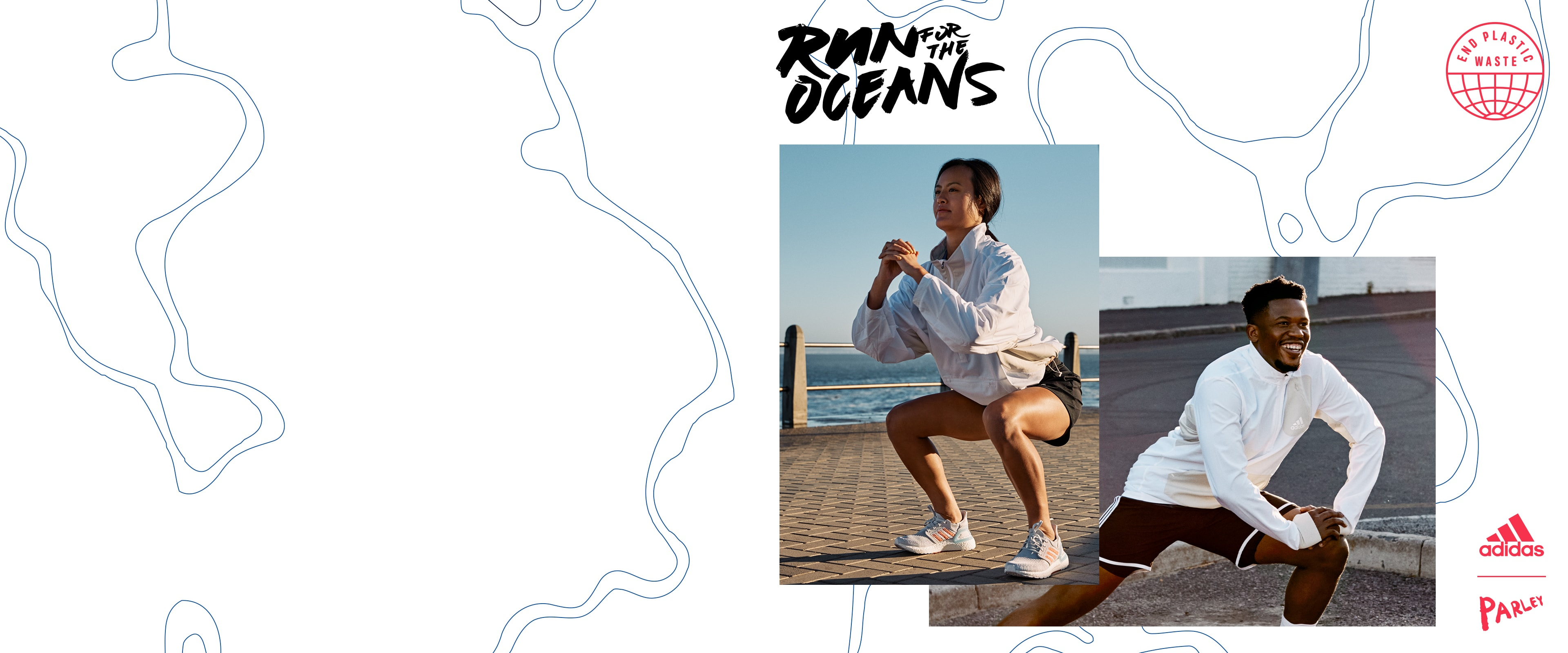 A man and woman are warming up to get ready for Run For The Oceans