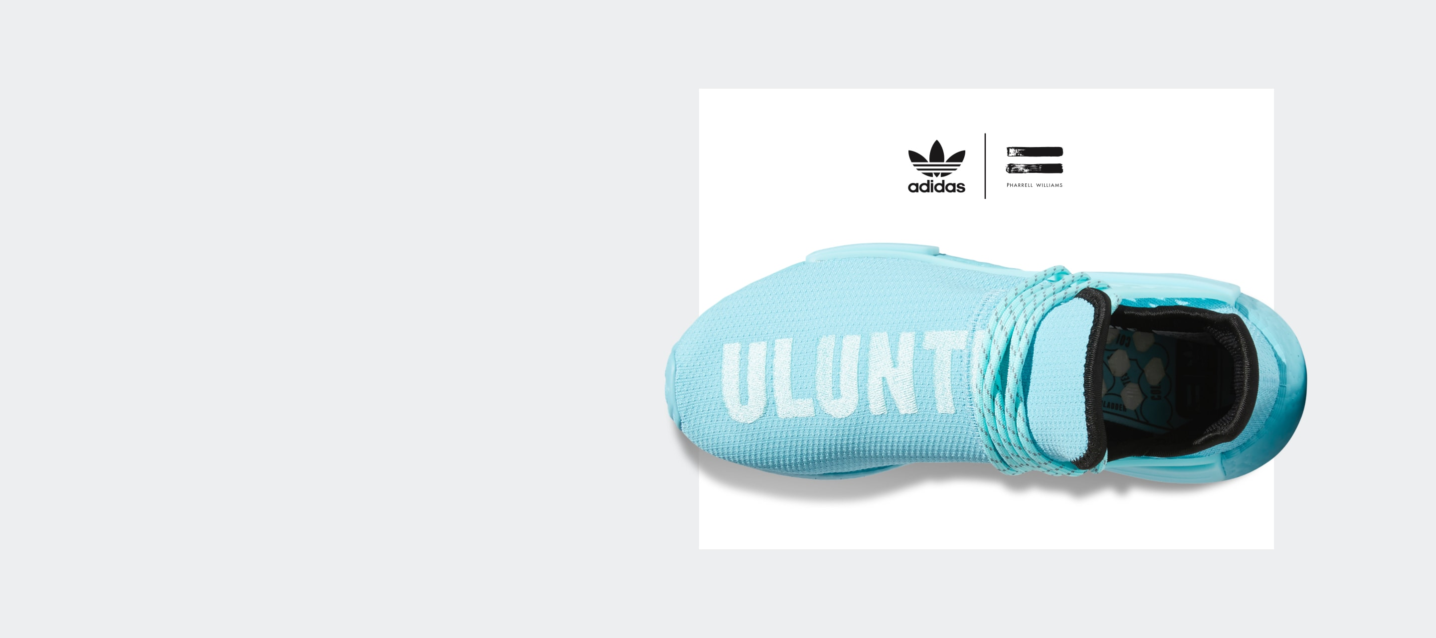 """An overhead shot of a bright blue HU NMD shoe, highlighting the white embroidered """"ULUNTU"""" block lettering on the Primeknit upper."""