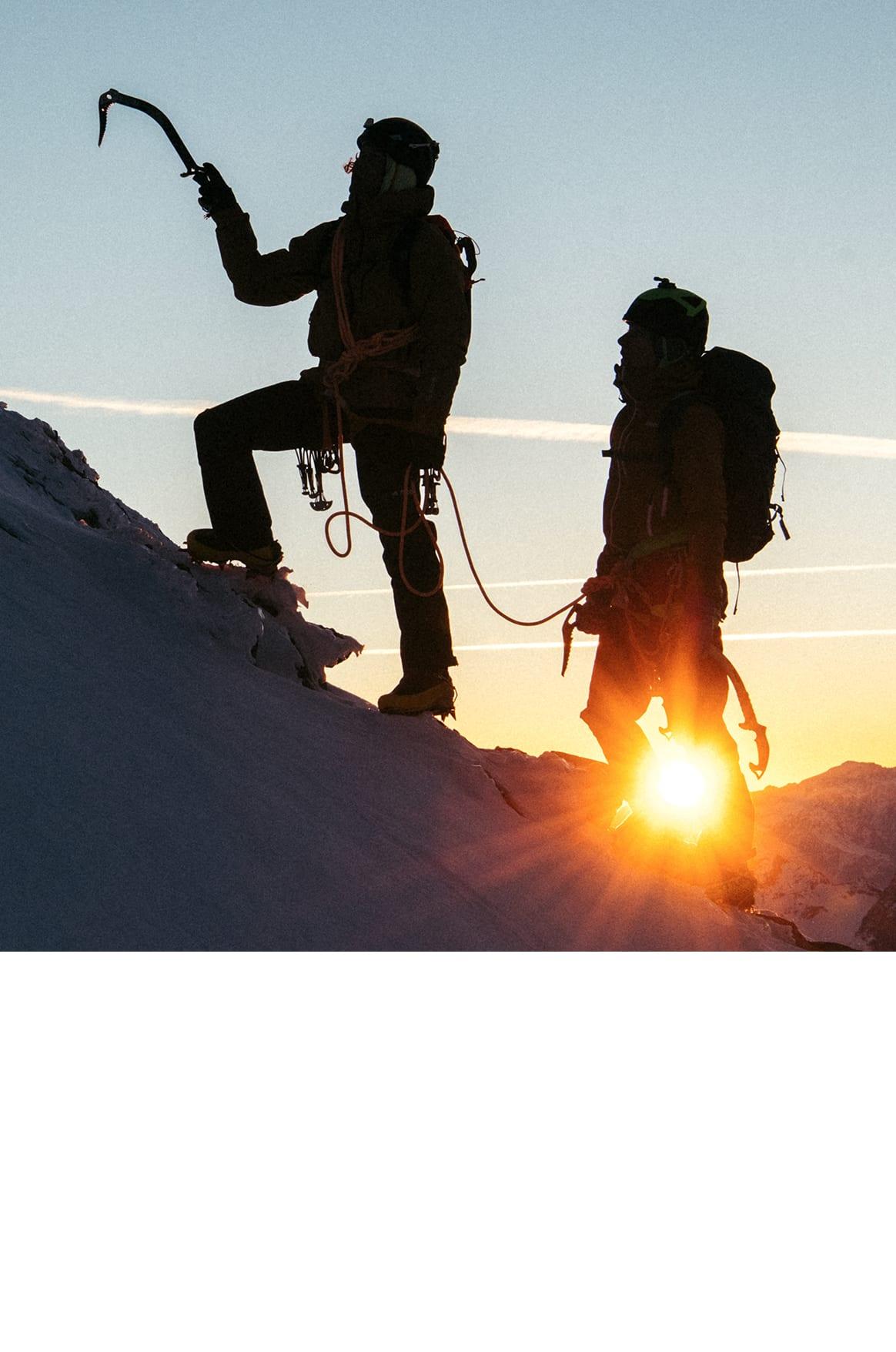Fabian Buhl and Melissa Le Nevé mountaineering in the adidas Terrex Techrock Gore-Tex Pro Jacket