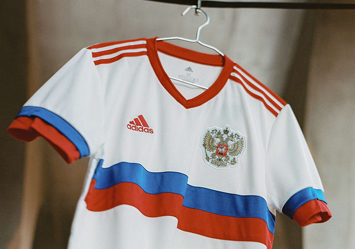 The new Russia Away jersey is shown here. Showing off the white, blue and red of Russia's flag, this adidas football jersey offers a taste of home for Russia's players when they play away.