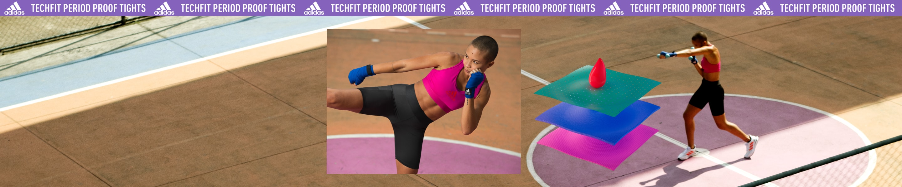 Young Muay Thai athlete Monique trains in the center of a court, wearing the adidas Techfit Period Proof Shorts.