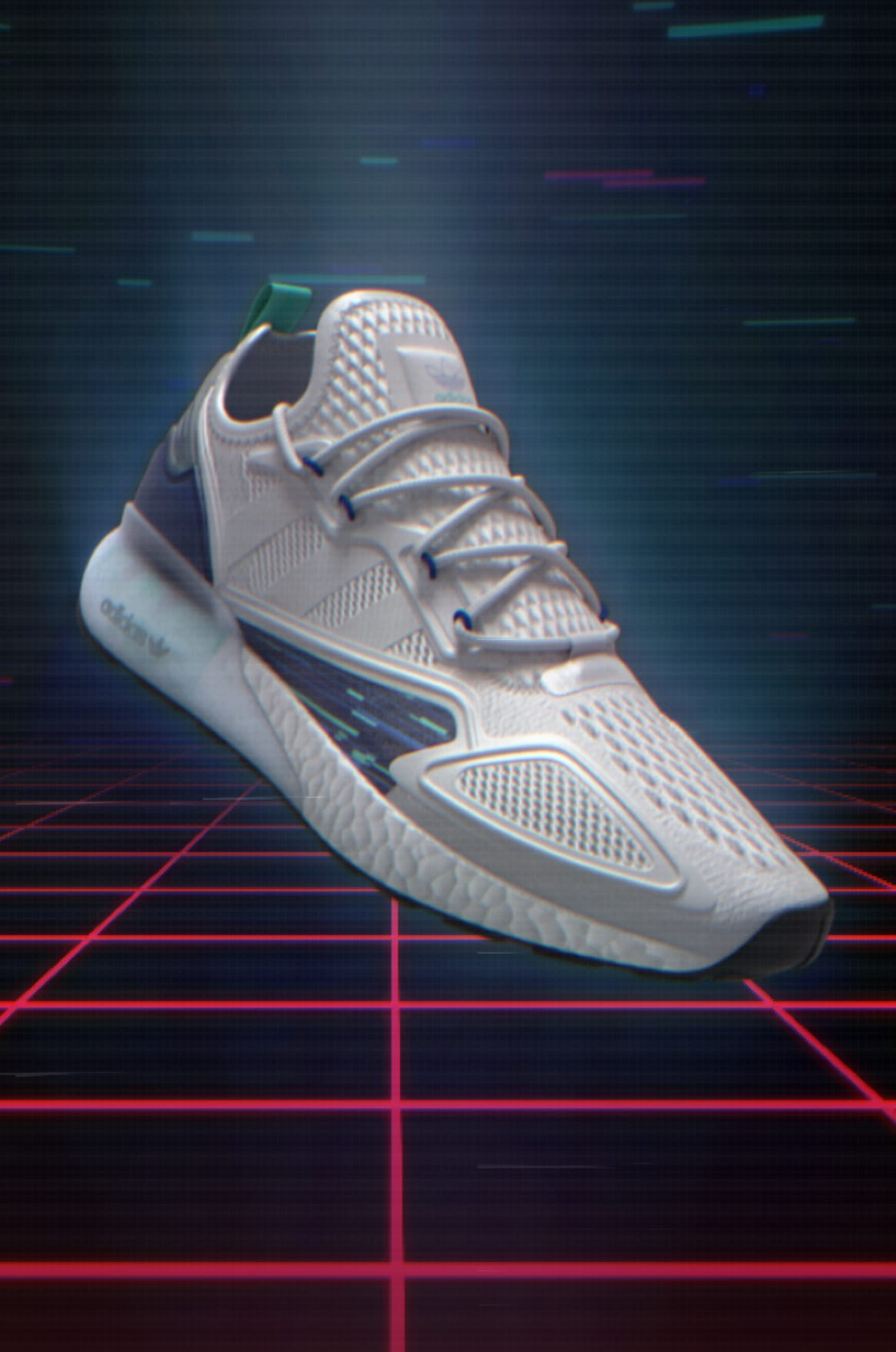 adidas ZX 2K Boost in video-game setting.