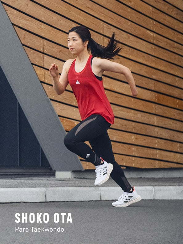 Woman running forward with the new adidas 4DFWD running shoe.