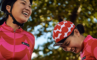 collection of images of the models in the cycling outfits