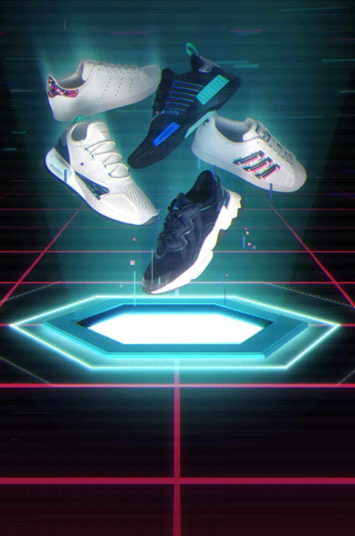adidas NMD_R1, Ozweego, ZX 2K Boost, Stan Smith, and Superstar in video-game setting.