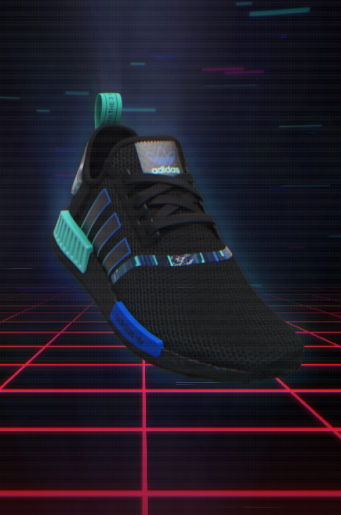 adidas NMD_R1 in video-game setting.