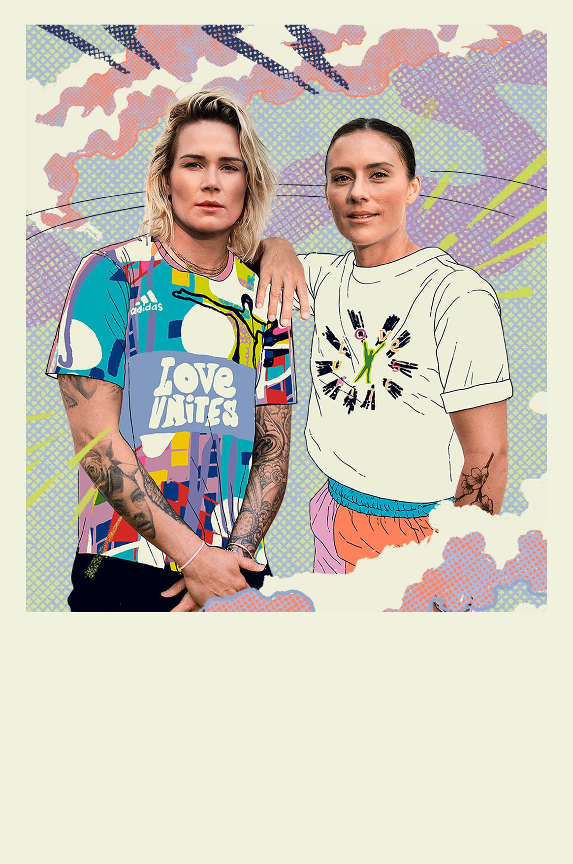 Collage featuring Pride representatives Ali Krieger and Ashlyn Harris.