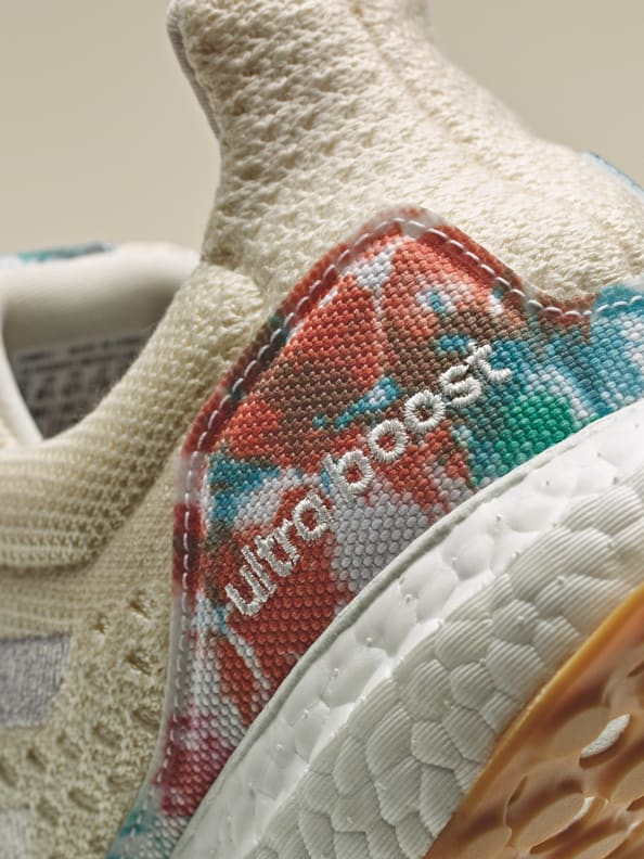 Heel detail shot showing the nature inspired pattern of the new Ultraboost Uncaged Made with Nature Lab. Designing in balance with the planet. adidas FW21