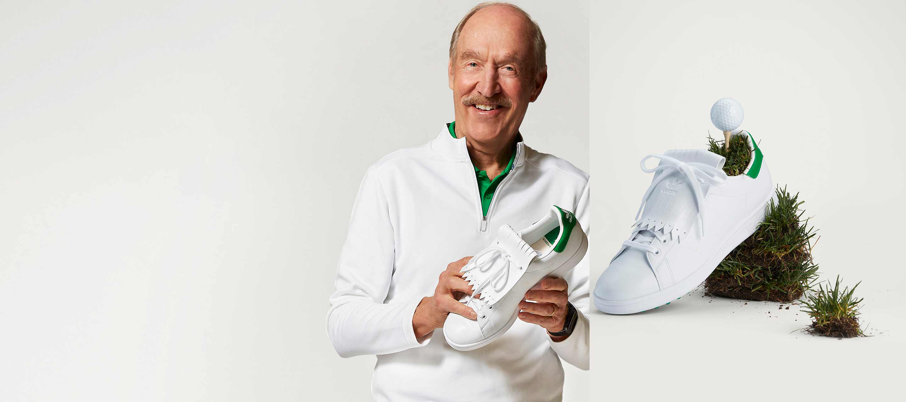 Stan Smith holding a Stan Smith golf shoe