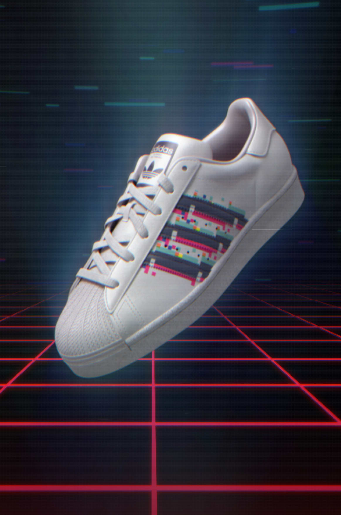 adidas Superstar in video-game setting.