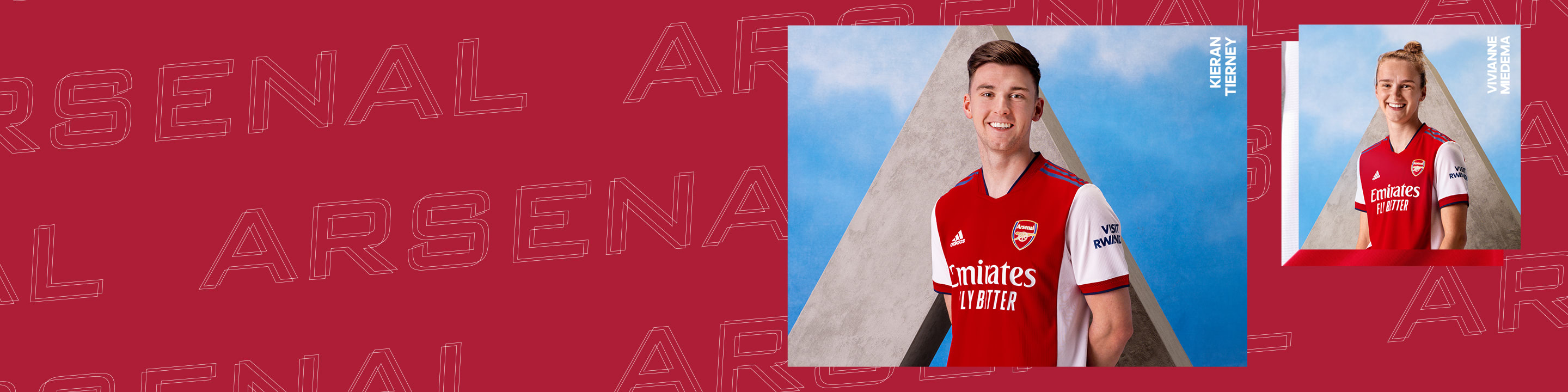 A visual of an Arsenal Home Jersey and a male player wearing Arsenal Home Jersey