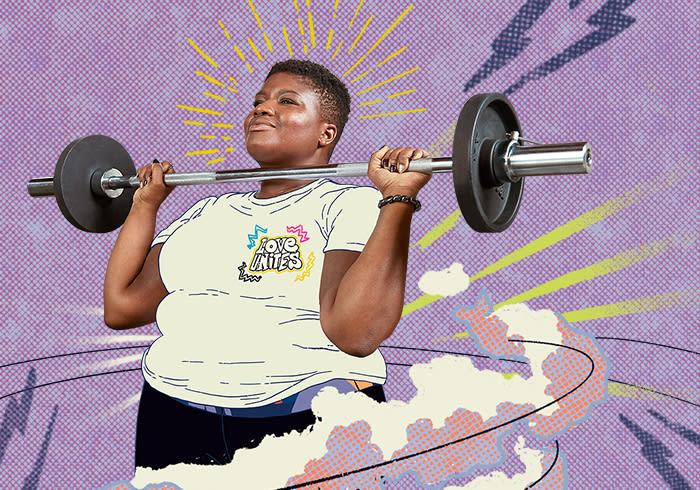 Collage featuring Pride representative Jessamyn Stanley.