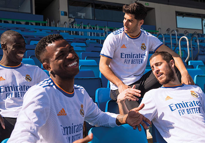 Male players in Real Madrid Home Jersey