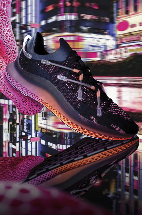 The new ADIDAS 4D FUSIO entering our reality and stepping onto a wet city street while 3D-printed lattice structures trail behind.