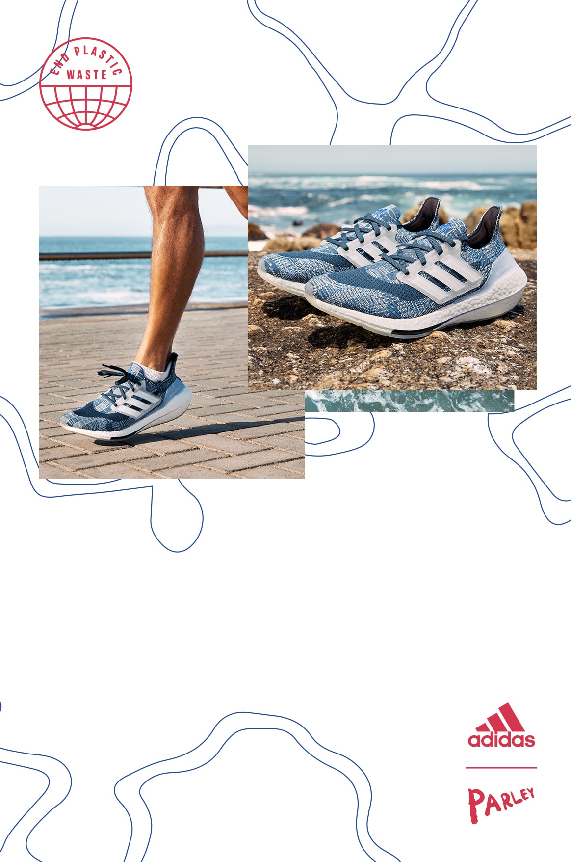 Close-up of a man running, wearing Primeblue shorts and Ultraboost 21 running shoes