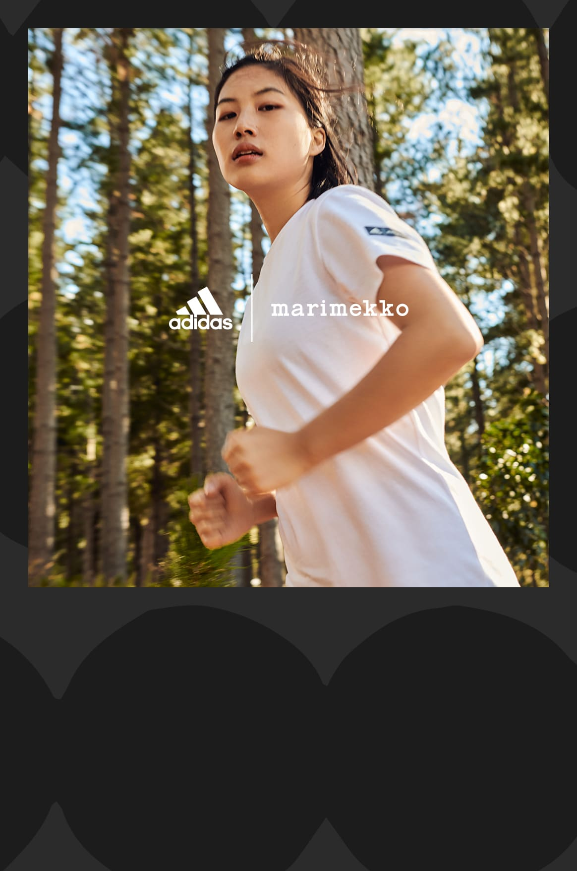 modelo corriendo en el bosque