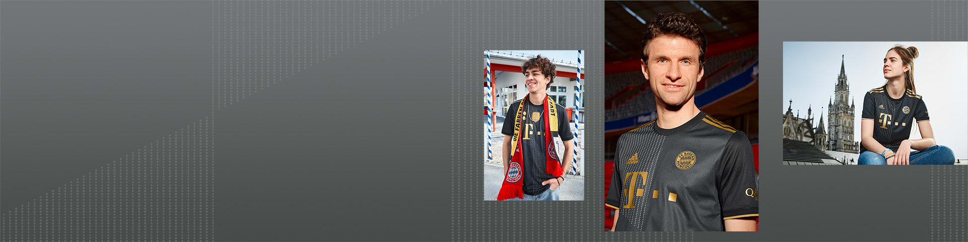 Female and male player in FC Bayern Away Jersey