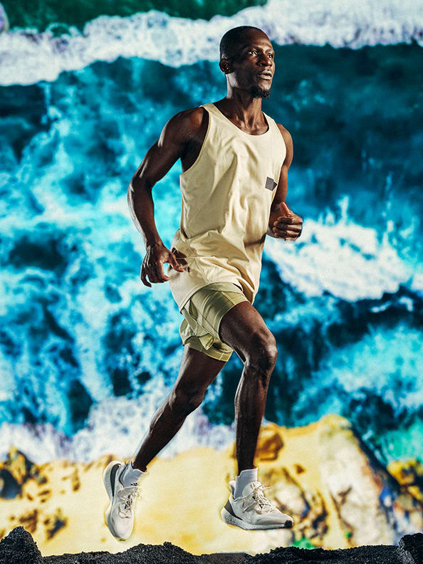 A male athlete in the new adidas x Parley running collection