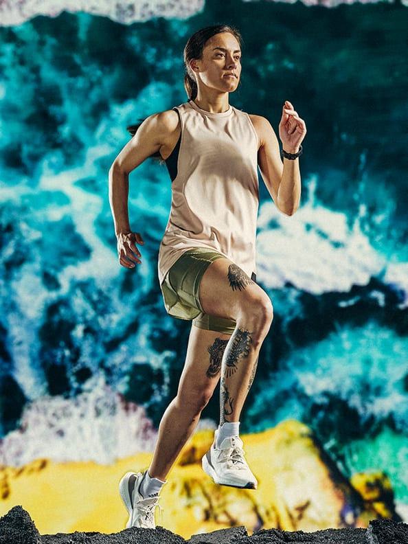 A female athlete in the new adidas x Parley running collection