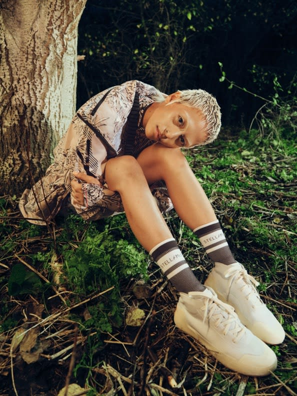 A 4-image collection showcasing the key looks of adidas by Stella McCartney FUTUREPLAYGROUND. Spring/Summer 21.