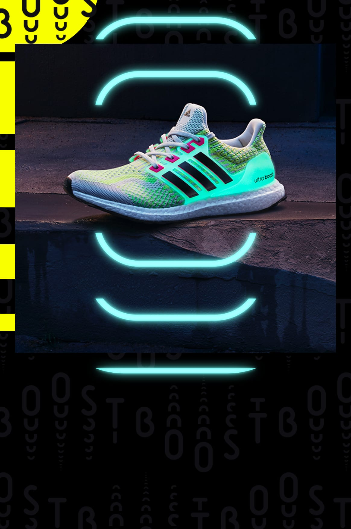 Ultraboost DNA Glow in the Dark, performance running and lifestyle shoe, glowing in the dark in urban setting