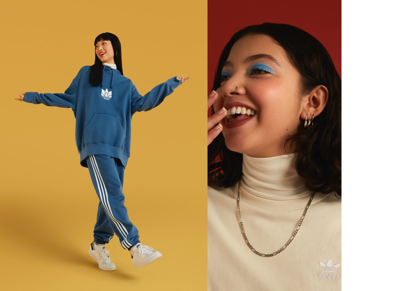 Woman in blue tracksuit and friend in cream poloneck.