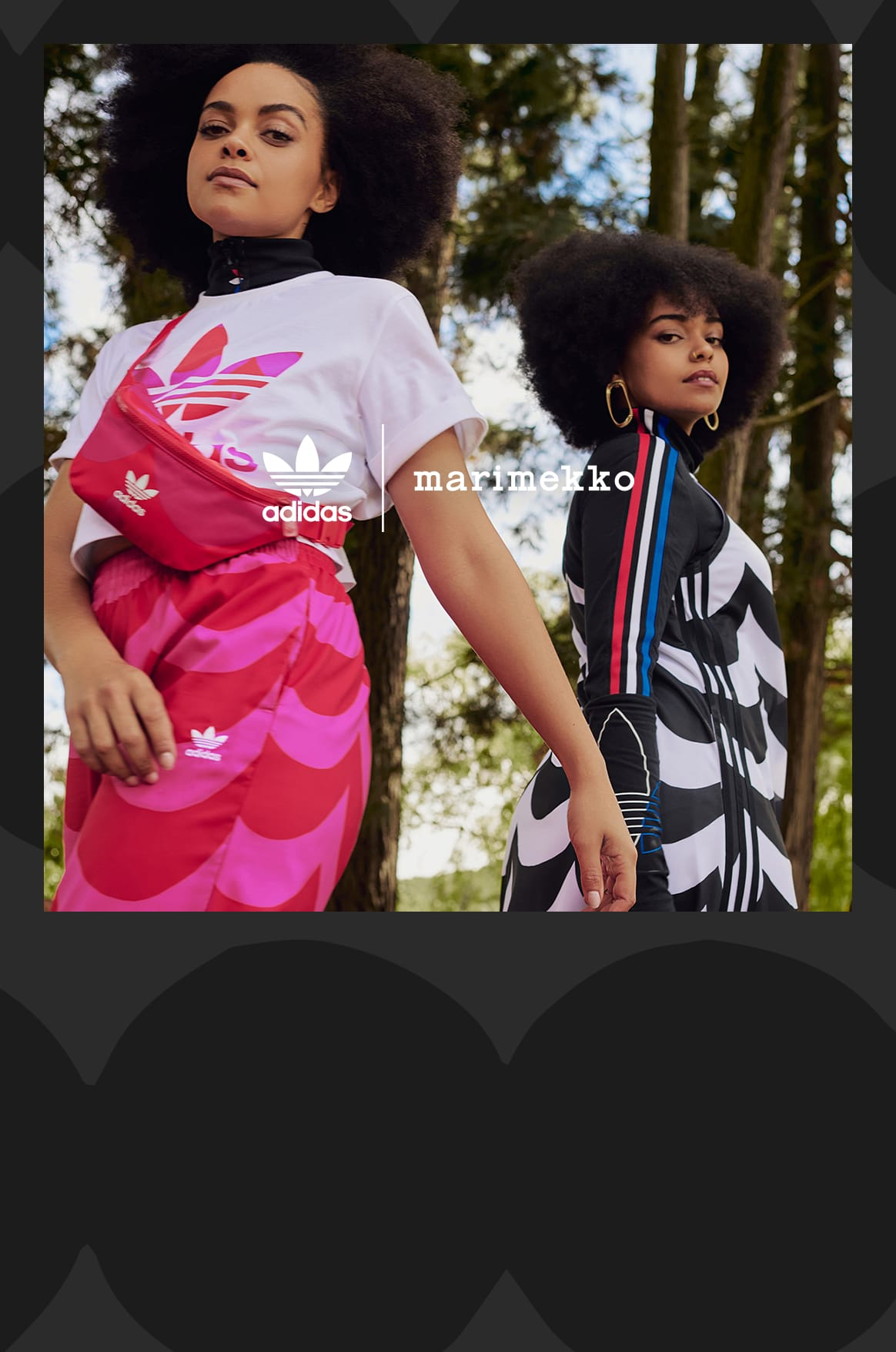 Deux mannequins dans les bois portant une tenue Originals