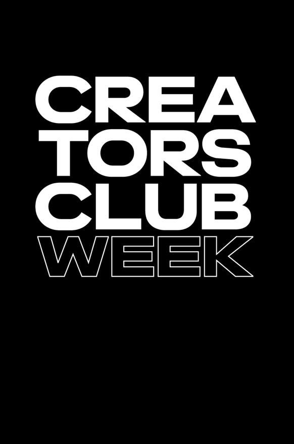 Creators Club Week Logo on black background.