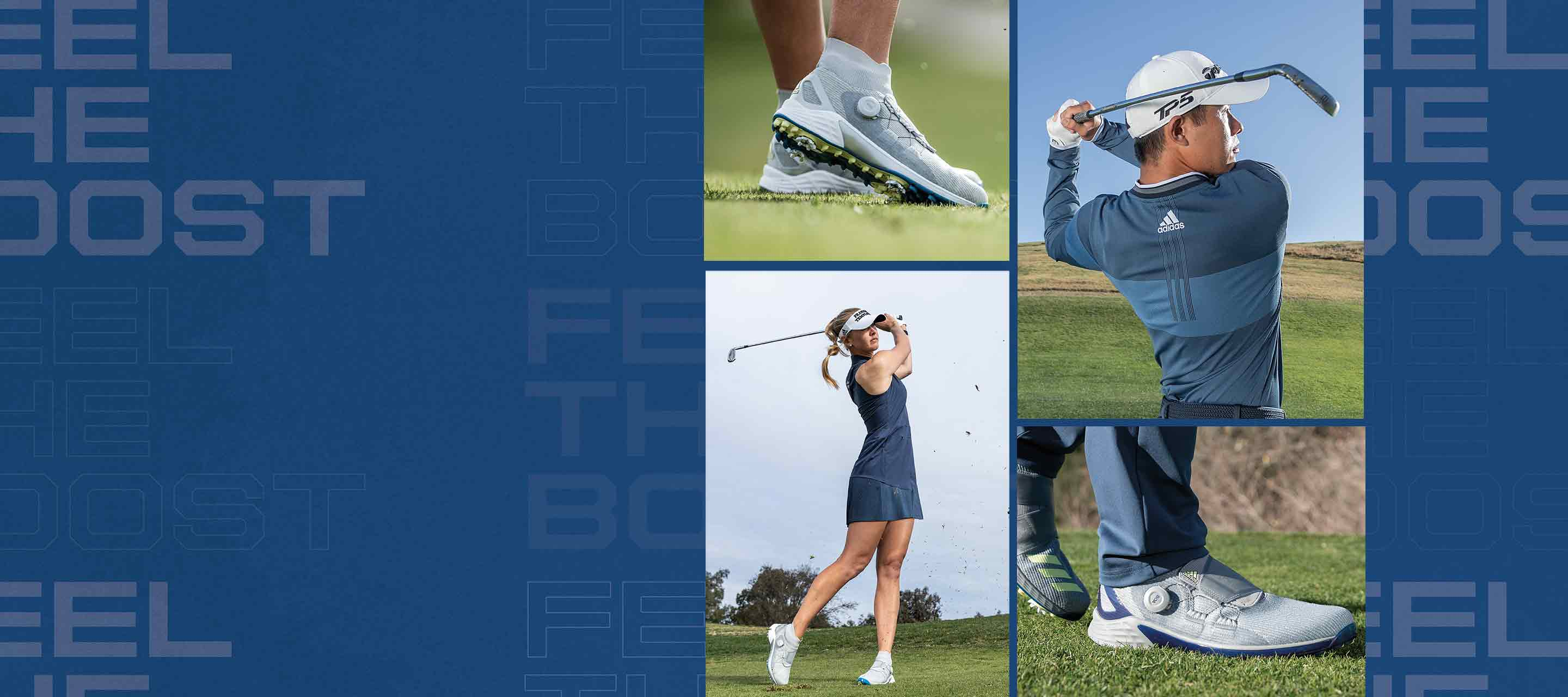 Collage of multiple imagery of men and women playing golf