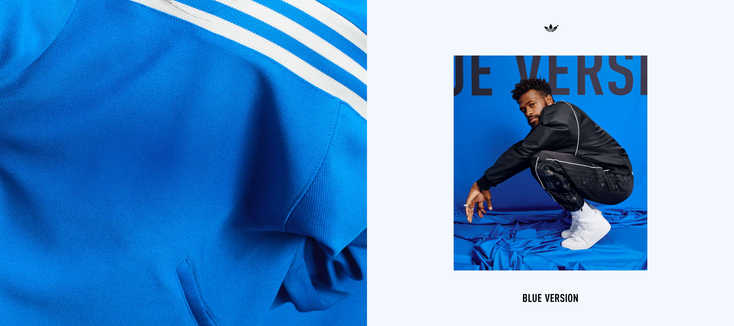 An image of Duckwrth squatting wearing a Blue Version Seefeld track suit in black.