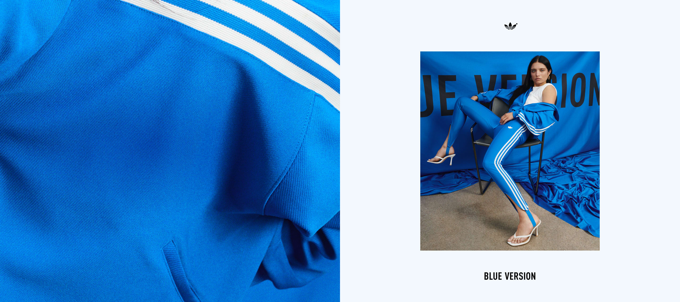 An image of Ganna Bogdan striking a pose on a chair wearing the Blue Version Beckenbauer tracksuit in bluebird and a pair of high heels.