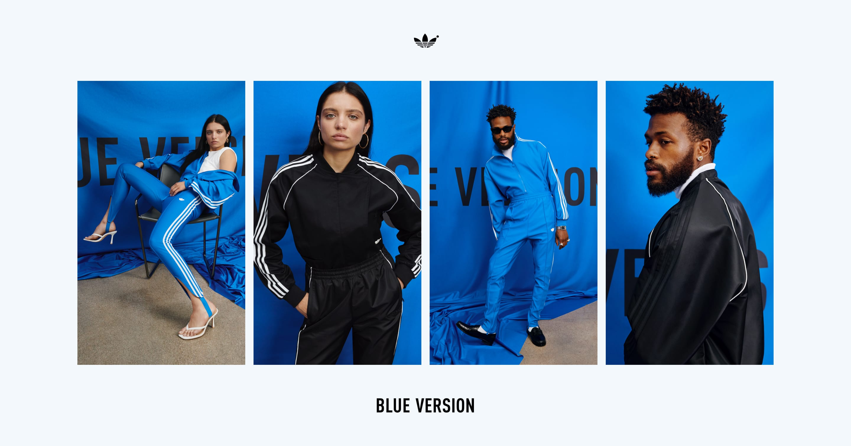 Four images of Duckwrth and Ganna Bogdan sporting various Blue Version garments in sitting and standing positions.