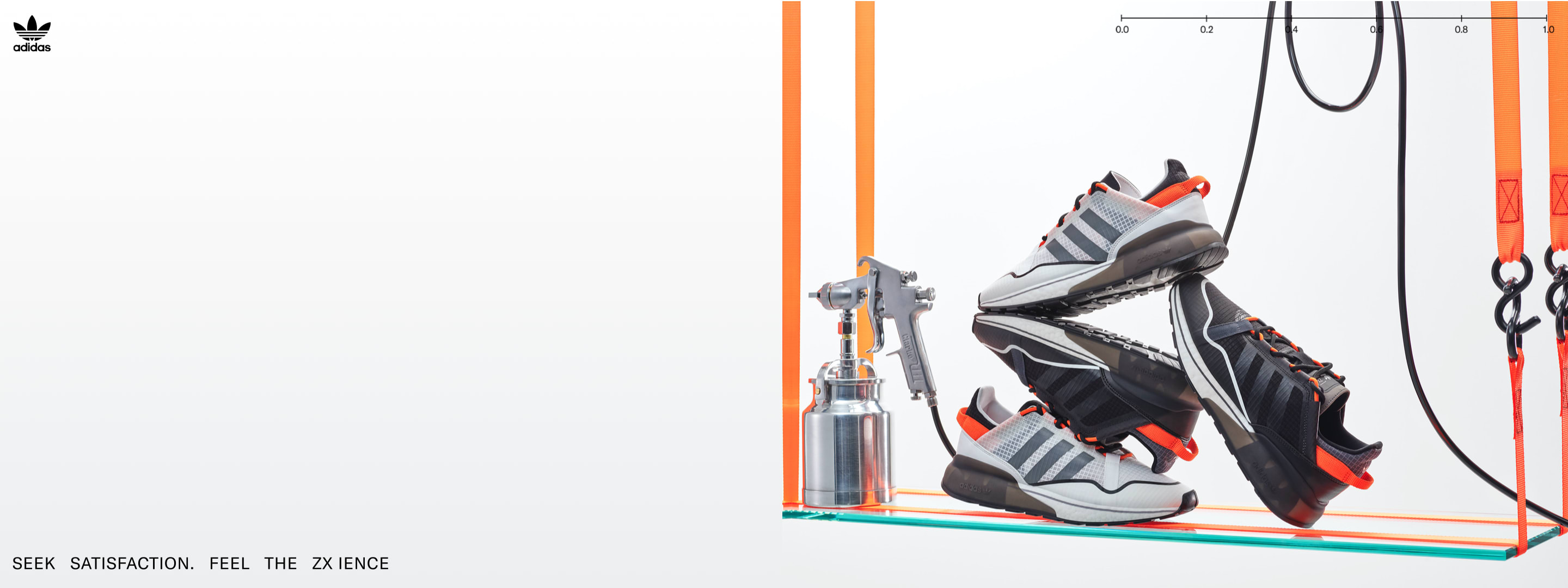 ZX 2K BOOST PURE unisex shoes are shown piled on top of each other in a science lab scene.