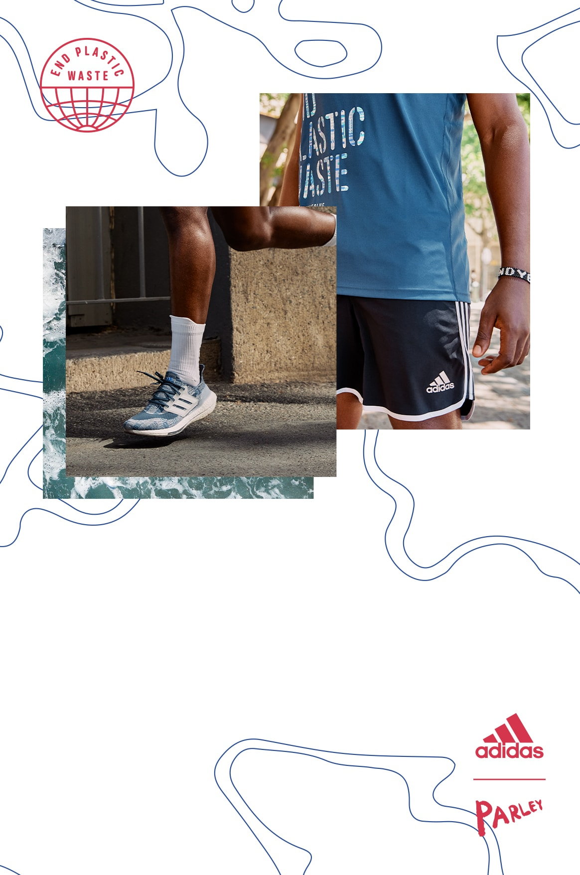Close-up of a man wearing Primeblue tank and shorts and a close-up of a man wearing Primeblue short and Ultraboost 21 shoes