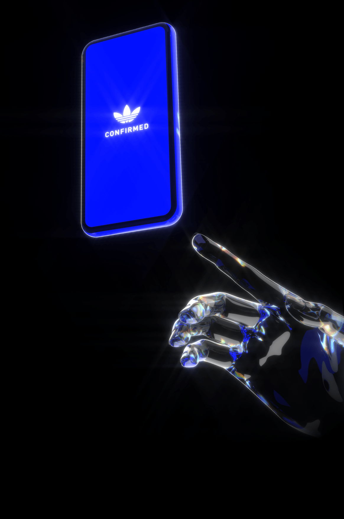 3D hand reaching out to phone showing the confirmed app