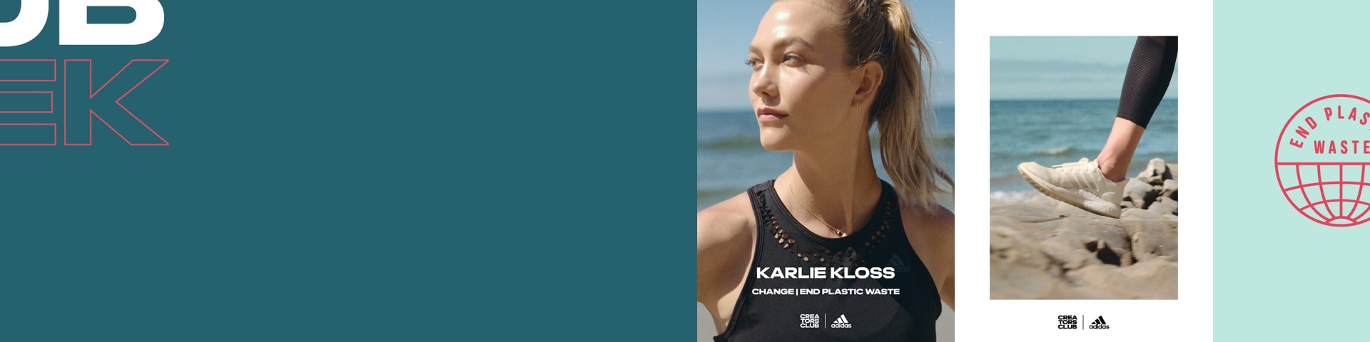 Entrepreneur Karlie Kloss in front of the sea. End Plastic Waste Logo