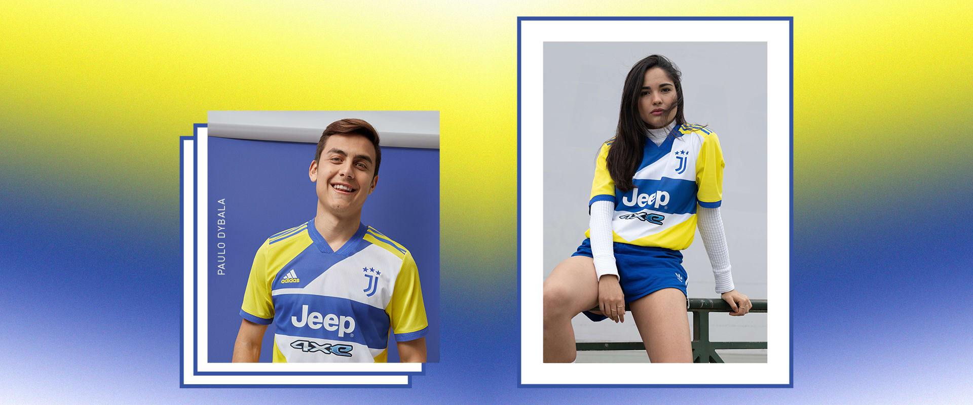 A male player and female fan wearing the Juventus Third kit