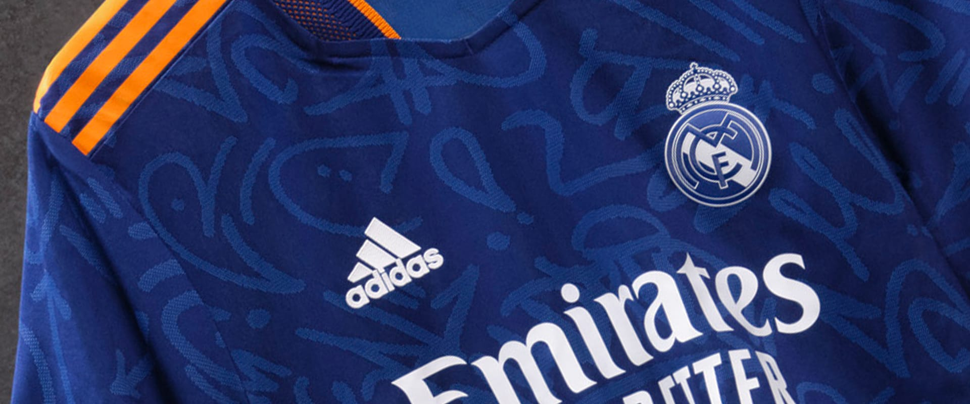 A close up of the Real Madrid Away Jersey