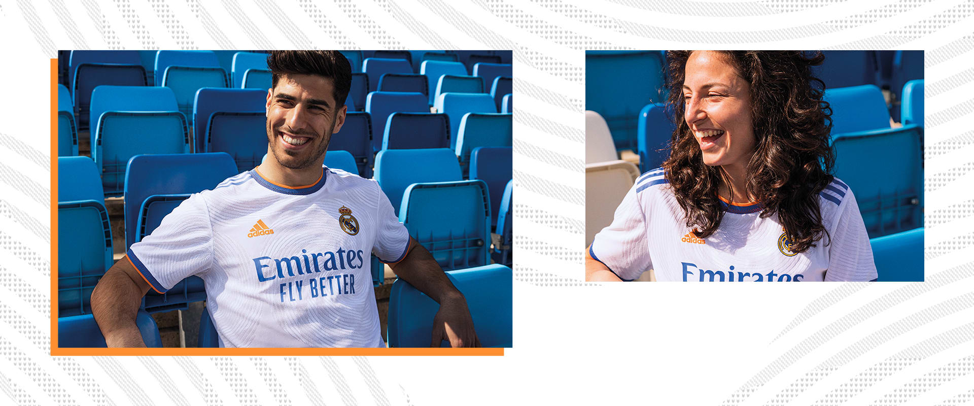 Male and Female players in Real Madrid Home Jersey