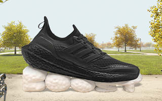 Running shoe in front of park scene with character
