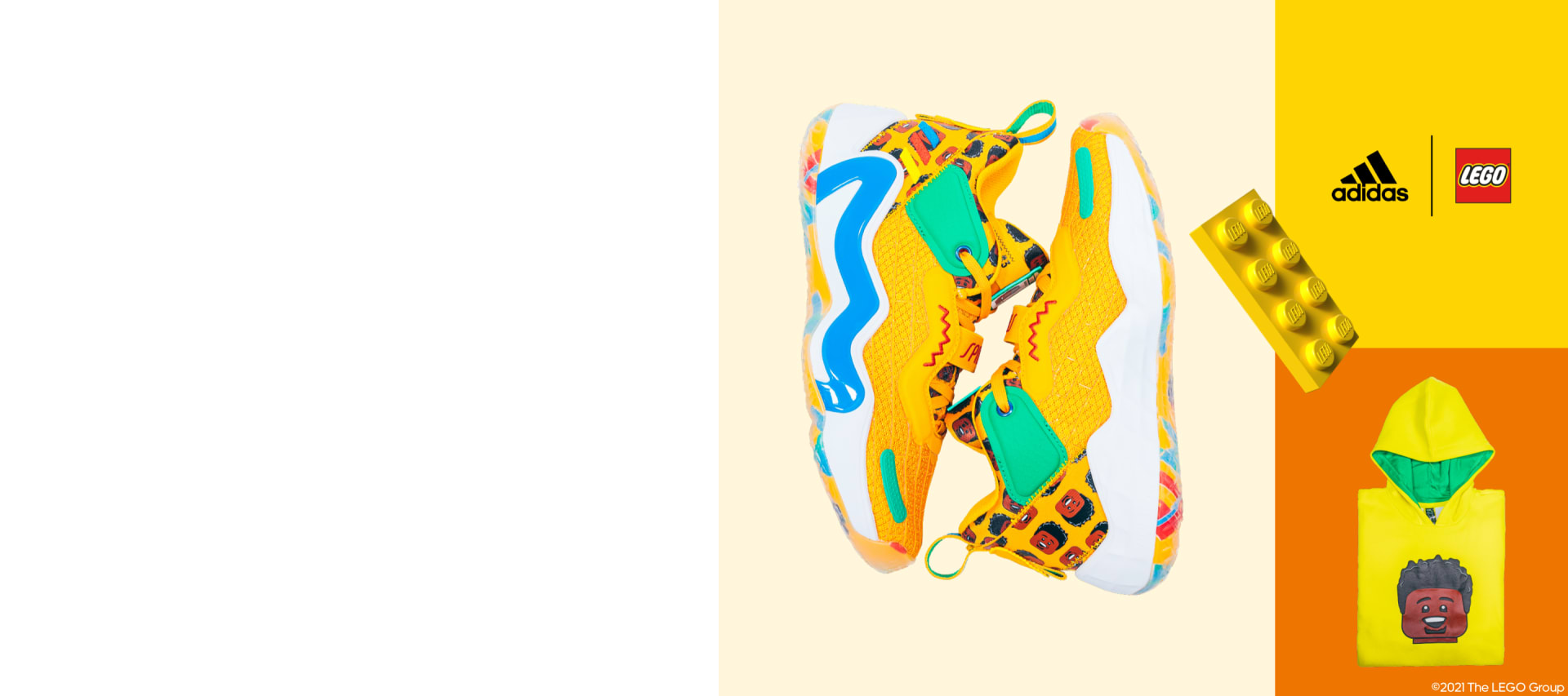 A three-quadrant grid image featuring a printed hoodie and a sneaker pair from the new adidas x LEGO® week basketball collection.