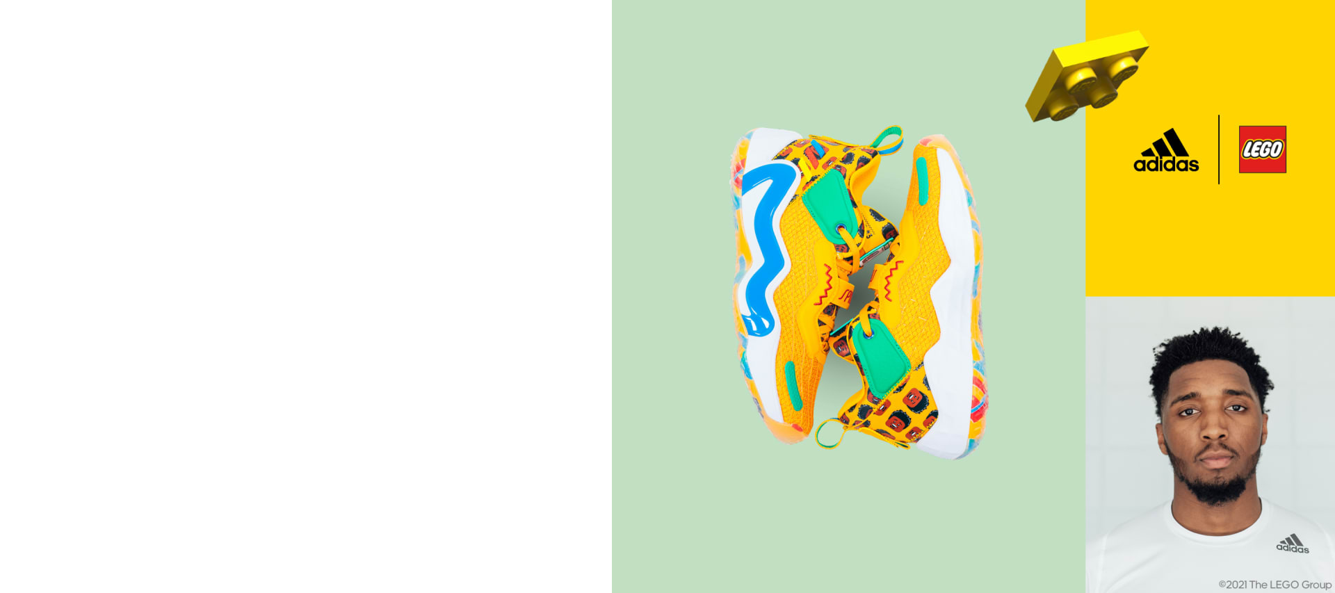 A three-quadrant grid image featuring Donovan Mitchell and his new D.O.N. ISSUE #3 sneaker.