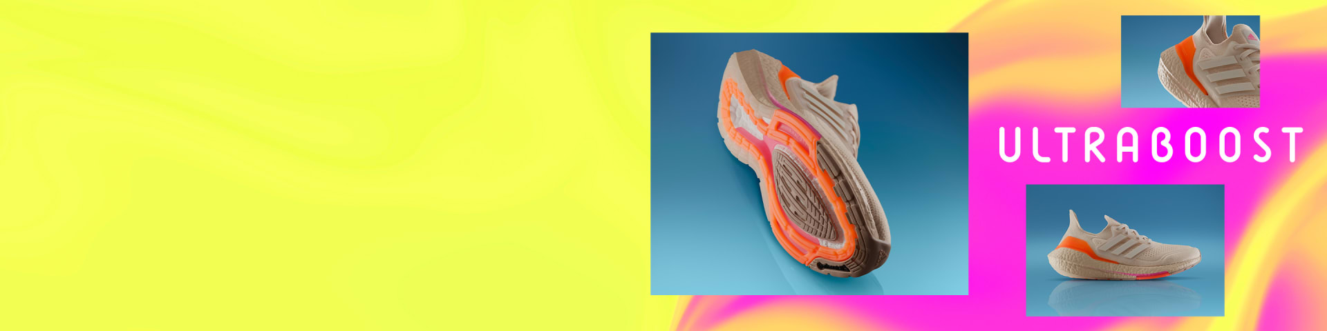 Tech elements that make up of the new Ultraboost 21 running shoe including the LEP and Boost sole.