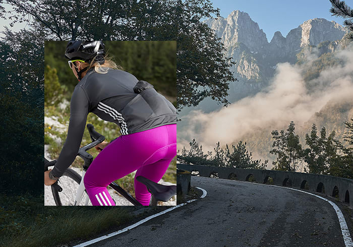 Image of female cyclist in the new COLD.RDY adidas Cycling collection