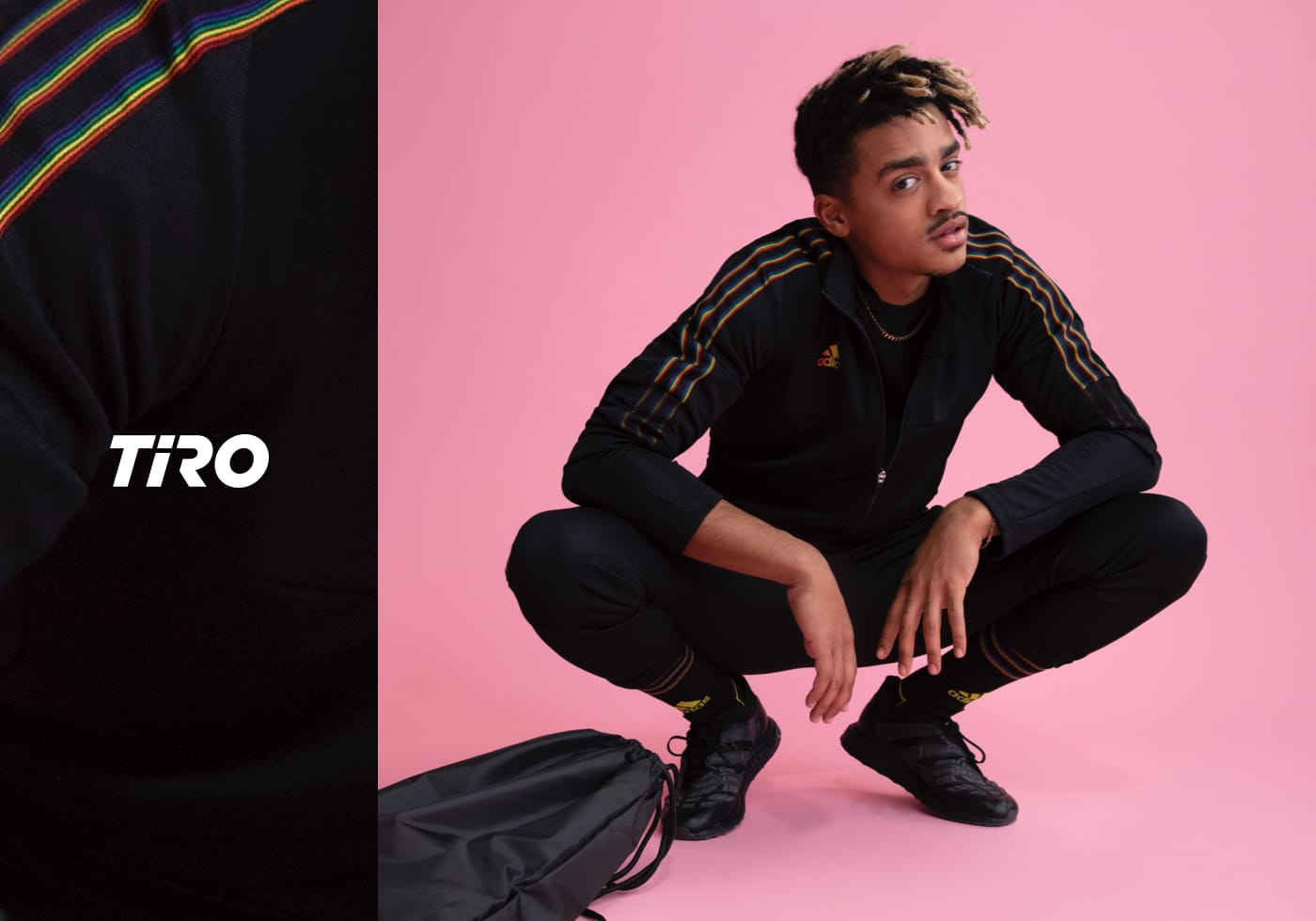 Man wearing the key outfit from the TIRO 21 Pride Pack from adidas. Spring/Summer 21.