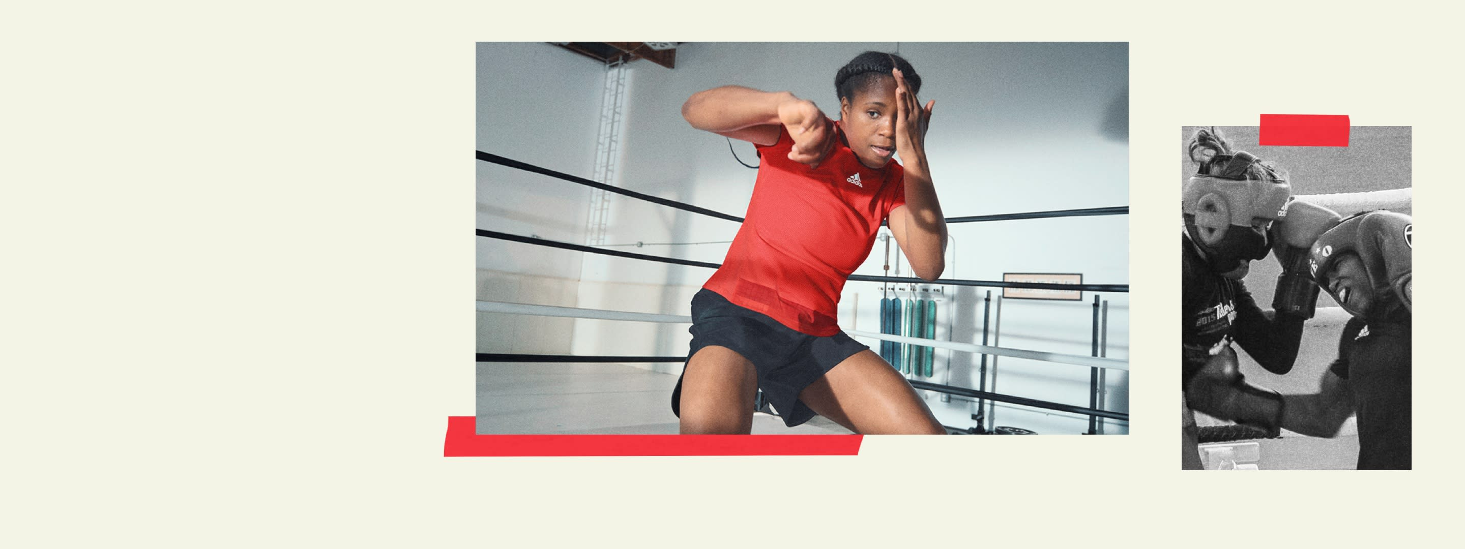 An image showing Caroline Dubois shadow boxing and boxing an opponent